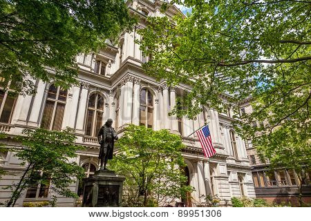 American Flag On The Old City Hall Building In Boston, Massachusetts