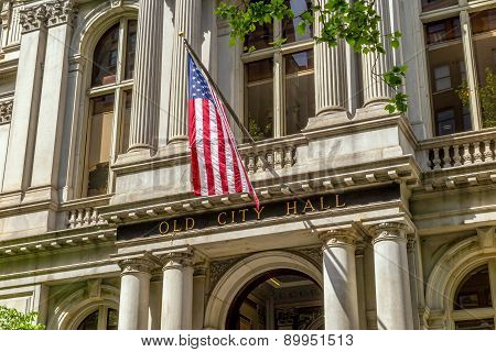 American Flag On The Old City Hall Building In Boston