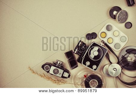 Retro movie camera and photo