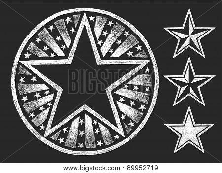 Star shape on the chalkboard