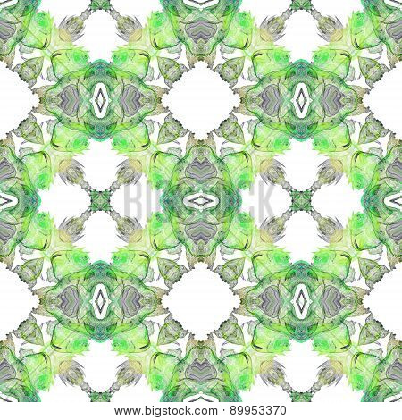 Seamless Kaleidoscope Texture Or Pattern In Green On White 1