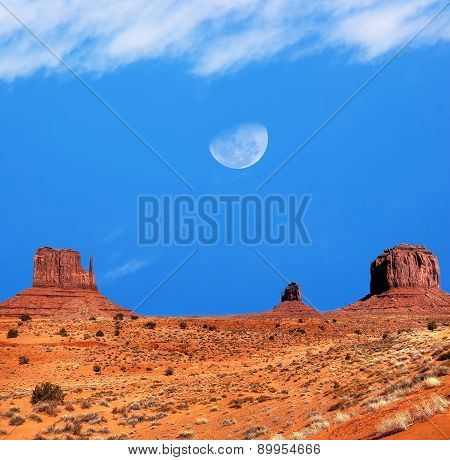 Monument Valley Gibbous Moon