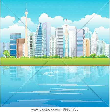 City Skyline with Green