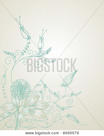 abstract drawing floral greeting on color background