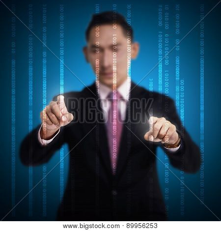 Man Touch Binary Code