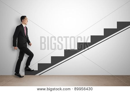 Business Man Step Up Imaginary Stairs
