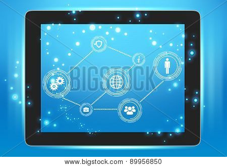 Tablet with icons on the screen interconnected points