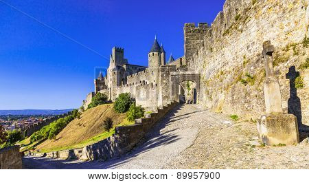 panorama Carcassonne castle- biggest town-fortress, France.