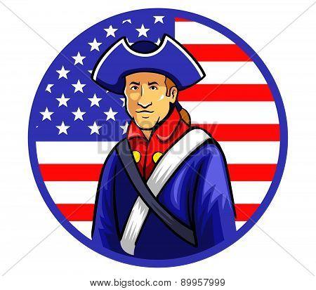 American Minutemen in Circle Shape Flag