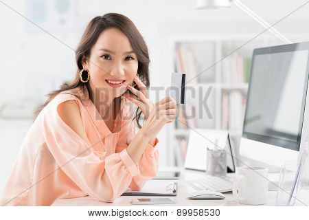 Business Lady With Credit Card