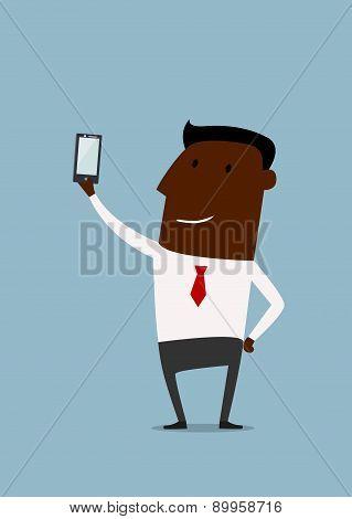 Cartoon african american businessman taking selfie