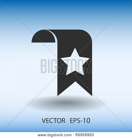 Flat Favorite bookmark icon, vector illustration