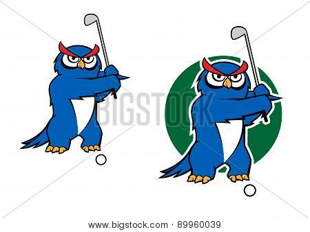 Cartoon owl mascot playing golf