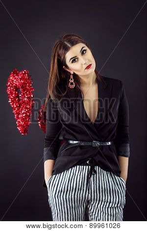Woman In Smart Casual Fashion Look. Stripes And Low-cut Blazer For Valentine's Day Party