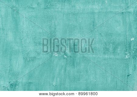 Old Cracked Concrete Wall With Net, Holes, Splits And Stains. Texture Cement Background.  Turquoise,