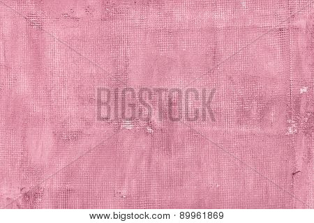 Old Cracked Concrete Wall With Net, Holes, Splits And Stains. Texture Cement Pink Background