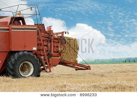 hay baler in the field