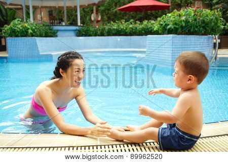 First Time In The Swimming Pool