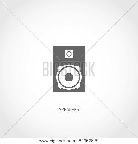 Musical instrument loudspeakers flat icon