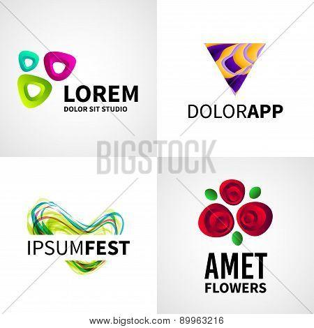 Set of modern creative colorful abstract flower fest studio logo emblem vector design elements