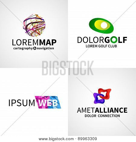 Set of modern colorful abstract web alliance golf map logo emblem vector design elements