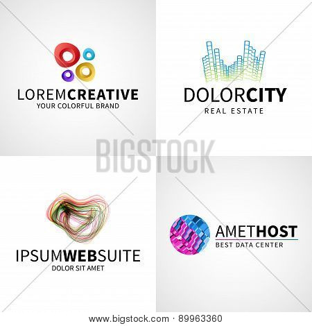 Set of modern colorful abstract creative web host data logo emblem vector design elements