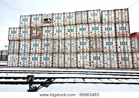 Ships And Container In The Container Harbor In Winter