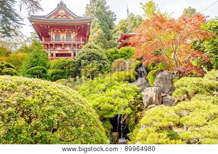 Japanese Temple In The Japanese Tea Garden, San Francisco, Usa