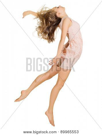 Young dancing girl in dress isolated