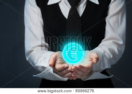 Businessman Offer Euro Represented By Euro Sign.