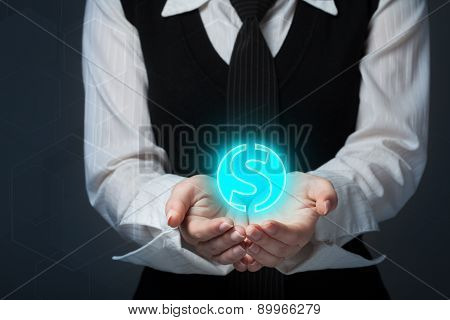 Protect Company Finances And Tax Optimization, Company Investment, Represented By Dollar Symbol.