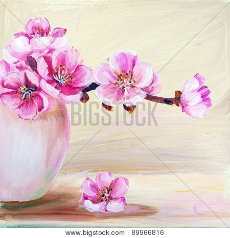 Sakura flowers in vase. Oil painting