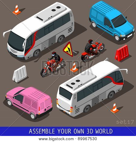 Isometric Flat 3D Vehicle Tourism Set