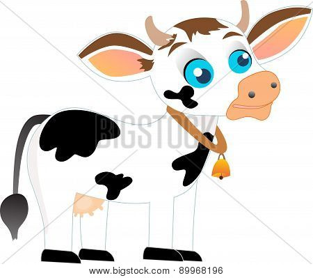 Black and white cow with bell