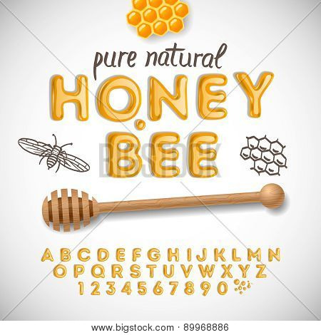 Latin alphabet and numbers made of honey