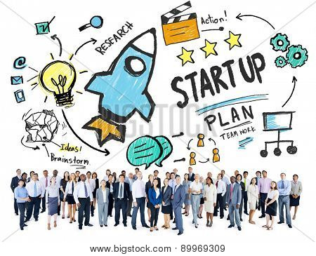 Start Up Business Launch Business People Aspiration Concept