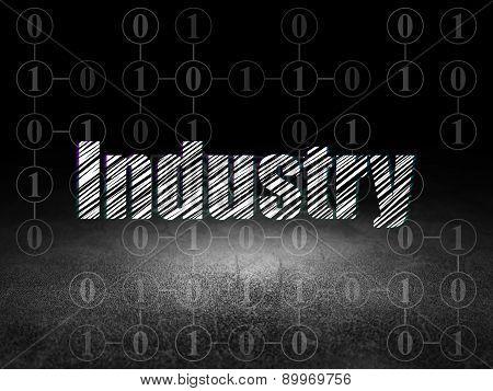 Finance concept: Industry in grunge dark room