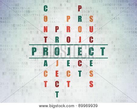 Business concept: word Project in solving Crossword Puzzle