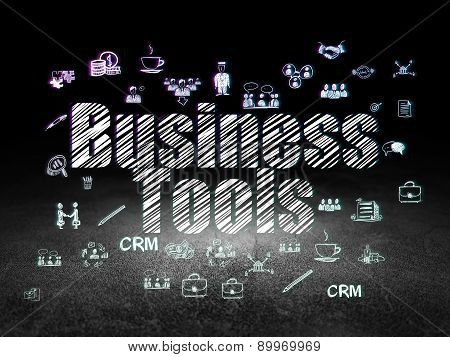 Business concept: Business Tools in grunge dark room