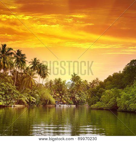 Sunrise in picturesque lagoon