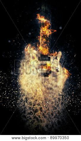Hard rock heavy metal Electric Guitar on fire