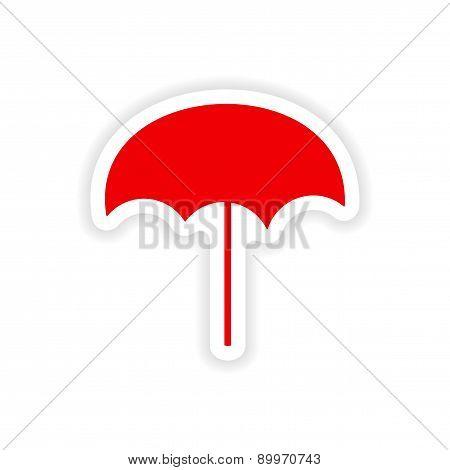 icon sticker realistic design on paper beach umbrella