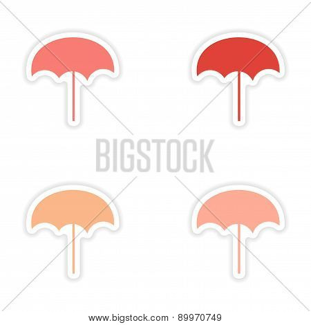 assembly realistic sticker design on paper beach umbrella