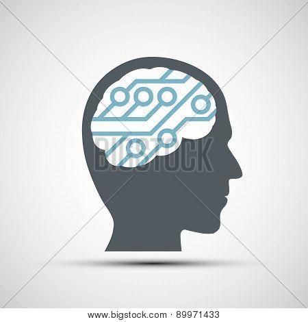 Vector Icon Of Human Head