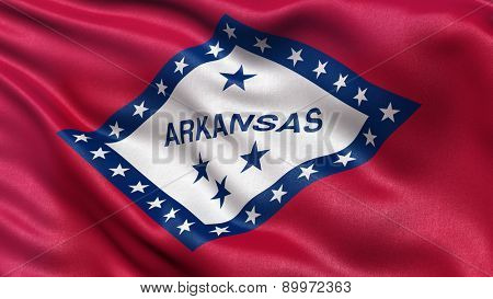 Highly detailed US state flag of Arkansas waving in the wind