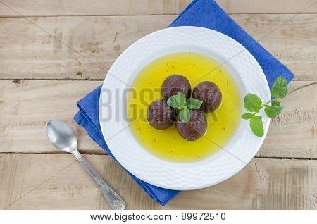 Gulab jamun with blue linen