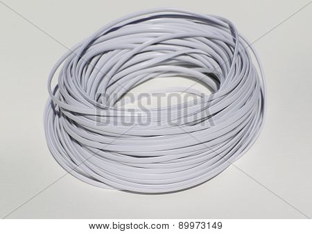 White Phone Cord On A White Background
