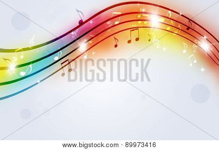Bright Music Notes Multicolor Background