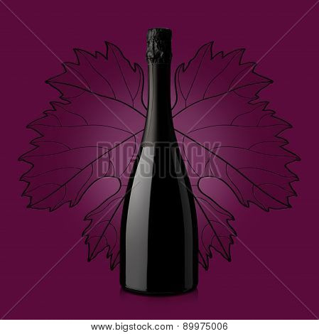 Bottle Of Wine Over Red Background With Leaf