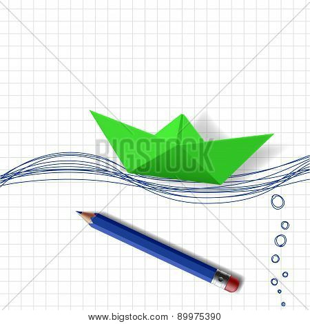 Green Paper Boat
